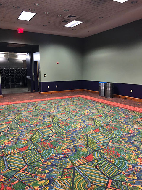 The room's walls are navy blue on the bottom and a lighter teal on top. The carpet is a unique pattern of greens, yellows, and reds, all outlined by a red border.