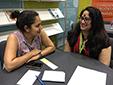 Manisha Sharma and her mentor, Shikha Malaviya, at the AWP bookfair in Los Angeles, 2016.