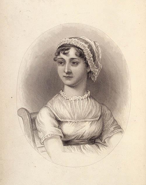 Portrait of Jane Austen in sepia tones
