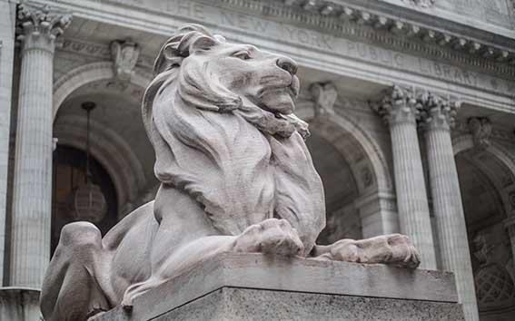 Lion outside the New York Public Library