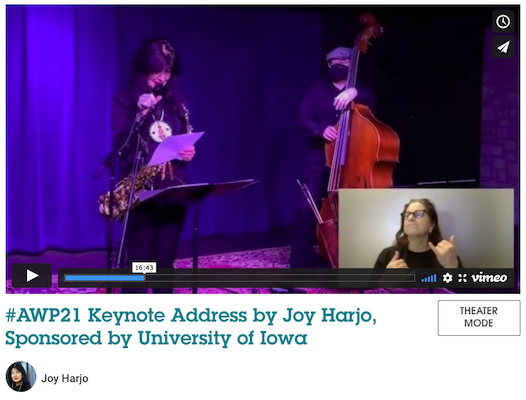 A screen capture of Joy Harjo during the #AWP21 keynote address.