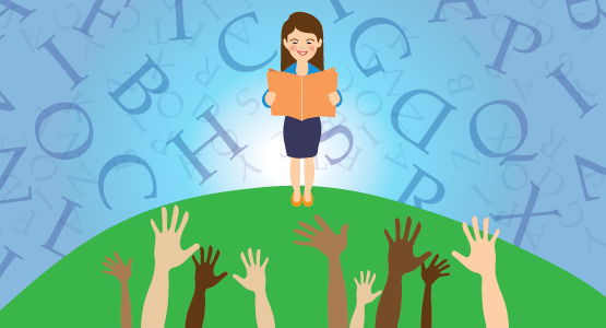 A woman reading a book while standing on a green hill. In front of her, people (perhaps students) raise their hands to ask questions. Behind her is a blue background full of random letters of the alphabet raining downward.